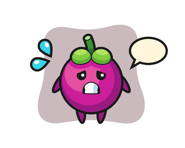 Mangostan-maskottchen-charakter mit ängstlicher geste, süßem stildesign für t-shirt, aufkleber, logo-element