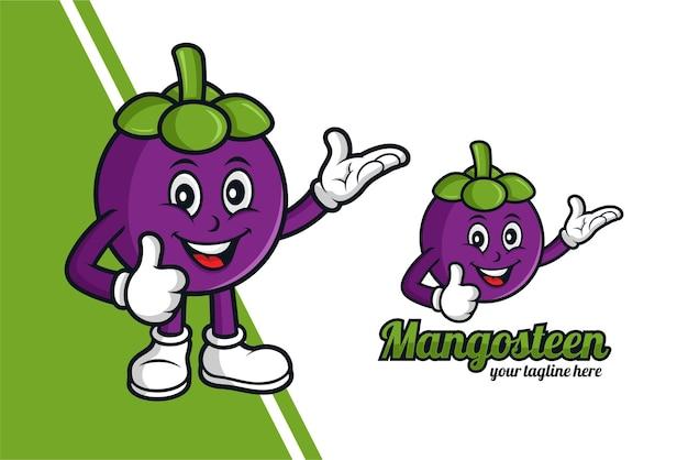 Mangostanfrucht-maskottchen-design-logo Premium Vektoren