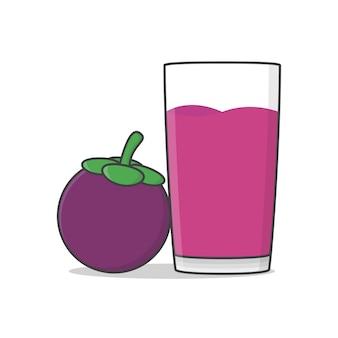 Mangostansaft mit mangostanfrucht. glas mangostansaft flach