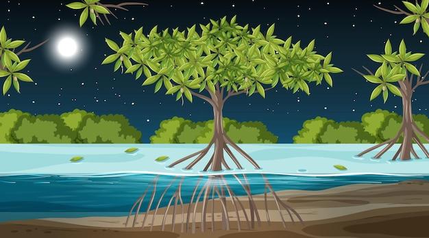 Mangrovenwaldlandschaftsszene nachts mit vielen verschiedenen tieren