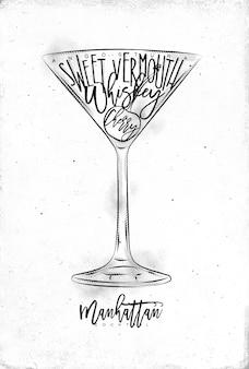 Manhattan cocktail mit schriftzug