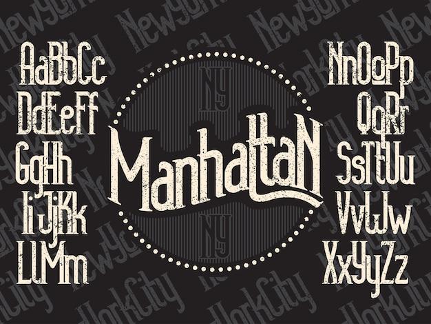 Manhattan moderne dünne linie schriftart