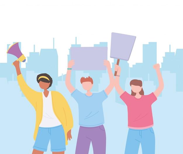 Manifestationsaktivisten, menschen, die protestschilder halten