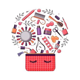 Maniküre-ausrüstung mit einer kleinen tasche ist ein helles set. nagellack, nagelfeile, pinzette, handcreme, schere, öl, drahtschneider. vektor-illustration.