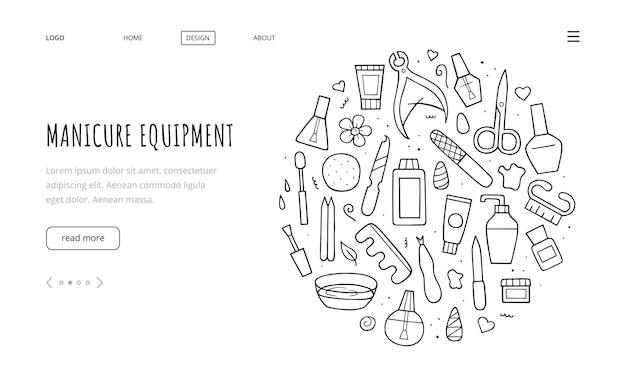 Maniküre-ausrüstungsset. vorlage für die zielseite. sammlung handgezeichnete verschiedene werkzeuge. doodle-skizze-stil. umriss-abbildung.