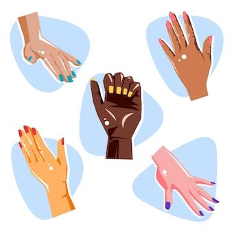 Maniküre hand sammlung konzept