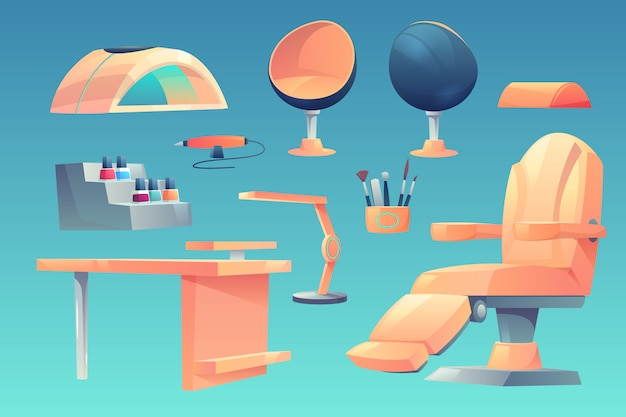 Maniküre, pediküre salonmöbel, geräte-set