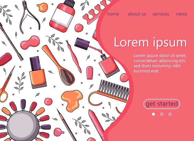 Maniküre-tools, nagellack. vektorillustration für banner, rahmen, zielseite, website.