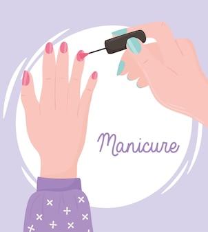 Maniküre, weibliche hand, die nägel malt oder nagellackillustration anwendet