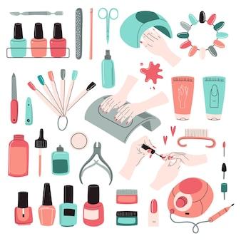 Maniküre-werkzeugset. zubehör, geräteset: nagellack, feile, schere, handcreme, bohrmaschine, uv-lampe, nagelhautzange usw. professionelles studio, schönheitssalon. doodle-vektor-illustration