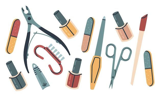 Maniküre zubehör doodle pediküre nagel service ausrüstung vektor illustration set