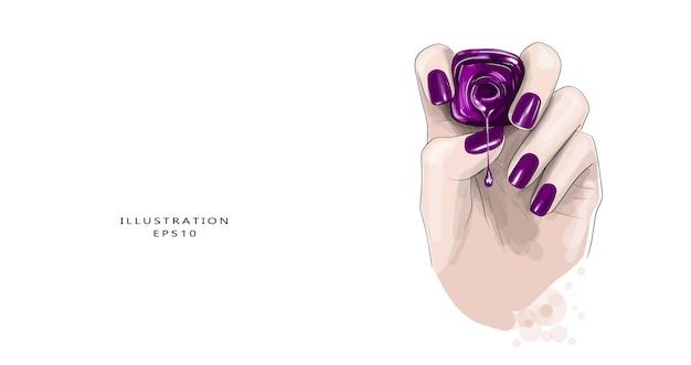 Maniküreschlauch mit nagellack