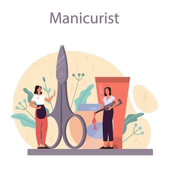 Maniküristisches servicekonzept. schönheitssalonarbeiter. nagelbehandlung und. maniküre-meister macht eine maniküre.