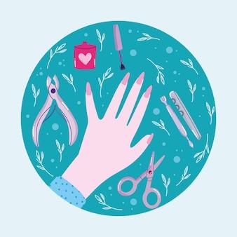 Manikürte nägel weibliche hand