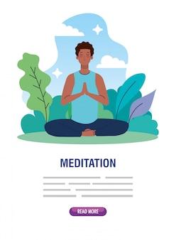 Mann afro meditation, konzept für yoga, meditation, entspannung, gesunder lebensstil in der landschaft