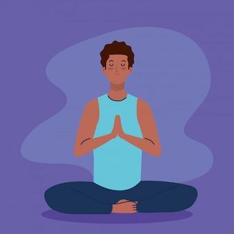 Mann afro meditieren, konzept für yoga, meditation, entspannung, gesunder lebensstil