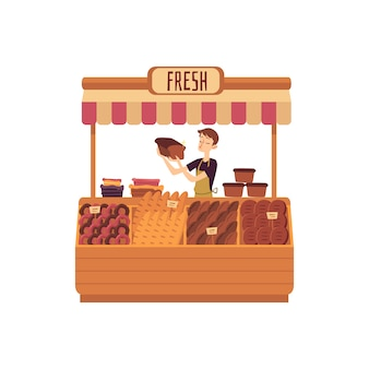 Mann am schalter der flachen illustration des bäckereimarktplatzes lokalisiert auf weiß.
