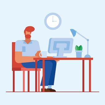 Mann am schreibtisch mit computer im bürodesign, in der belegschaft der geschäftsobjekte und im unternehmensthema