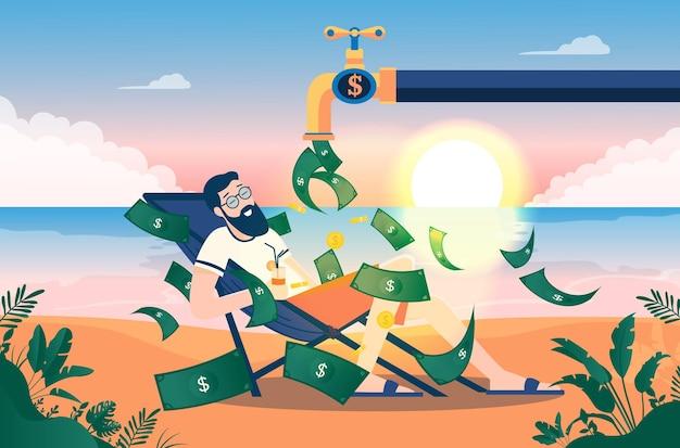 Mann am strand genießt einen haufen geld, der vom wasserhahn herab regnet
