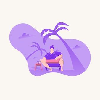 Mann am strand sitzen. sommer-vektor-illustrationen