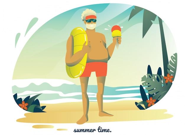 Mann am strand. sommeraktivität. cartoon charakter design.