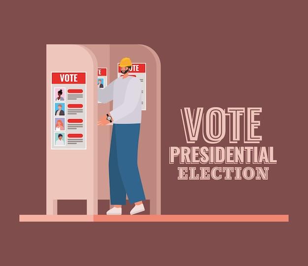 Mann am wahlstand mit abstimmung präsidentschaftswahltextentwurf, wahltagthema.