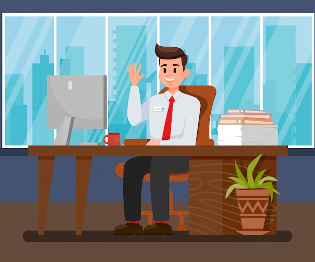 Mann an der neuen arbeitsplatz-flachen vektor-illustration