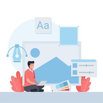 Mann arbeitet mit laptop mit designikone im hintergrund