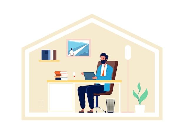 Mann arbeitet von zu hause aus. isolationszeit, sicheres leben und freiberufliche tätigkeit. geschäftsmann kommunizieren mit tablet, digitale online-meeting-vektor-illustration. mann online in quarantäne