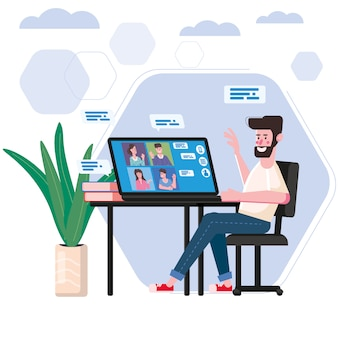 Mann arbeitete von zu hause videokonferenz menschen auf computerbildschirm laptop sprechen über das internet in videoanruf, chat