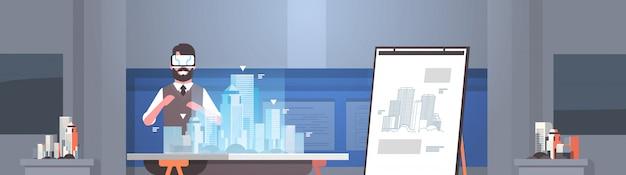 Mann architekt ingenieur trägt digitale brille virtuelle realität