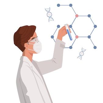 Mann arzt wissenschaftler halten reagenzglas. entwicklung einer behandlung mit einer pandemischen coronavirus-pneumonie. immunisierungsforschung im gesundheitswesen. illustration in einem flachen stil