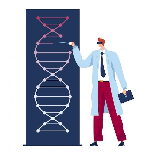 Mann arzt, zukünftige medizin, genetisches experiment, wissenschaftler im labor erforscht dna, flache illustration, isoliert auf weiß