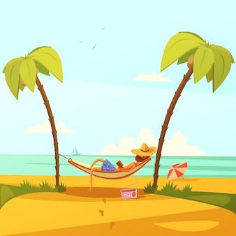Mann auf dem strandhintergrund mit hängemattenradio und -palmen