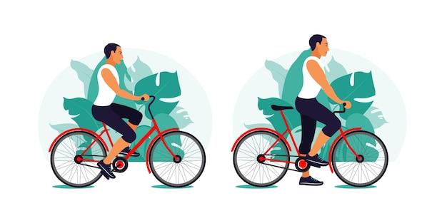 Mann auf einem fahrrad im park