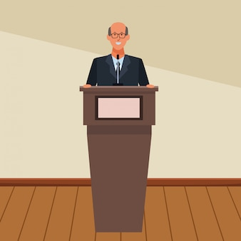 Mann auf einem podium
