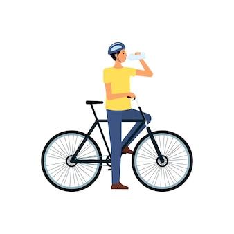 Mann auf fahrrad stehend und trinkwasser von flacher karikaturart der flasche, vektorillustration lokalisiert. der durstige männliche biker im helm hat aufgehört zu radeln, um wasser zu trinken