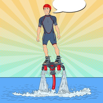 Mann auf flyboard illustration