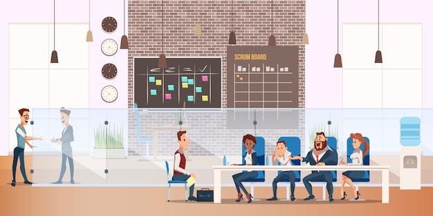 Mann auf job-interview-prozess im modernen büro
