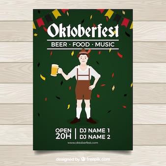 Mann auf oktoberfest mit bier und konfetti