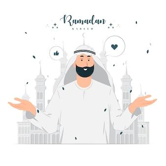 Mann auf ramadan kareem konzeptillustration