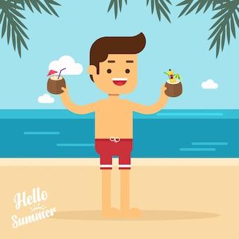 Mann auf reisen gehen mann am sommerstrand im urlaub urlaub mit cocktails