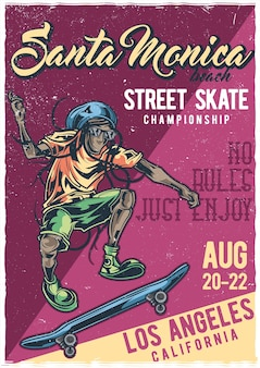 Mann auf skateboard illustration poster