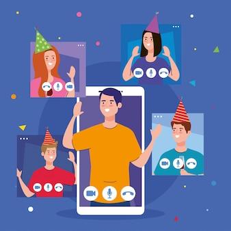 Mann auf smartphone und menschen mit partyhüten auf bildschirmen