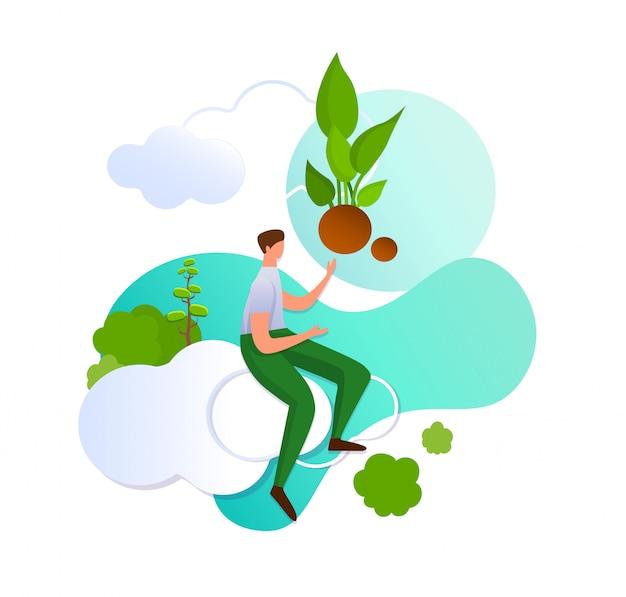 Mann auf wolke, die mit der hand auf grünen sprössling zeigt.