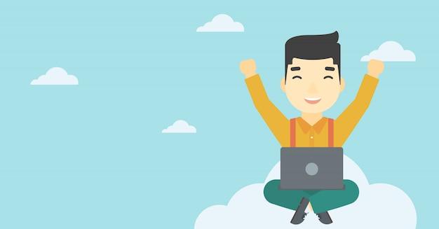 Mann auf wolke mit laptop