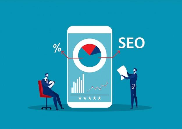 Mann aufnehmen und mit lupe berichten. konzept der seo oder suchmaschinenoptimierung, online-marketing-strategie. illustration.