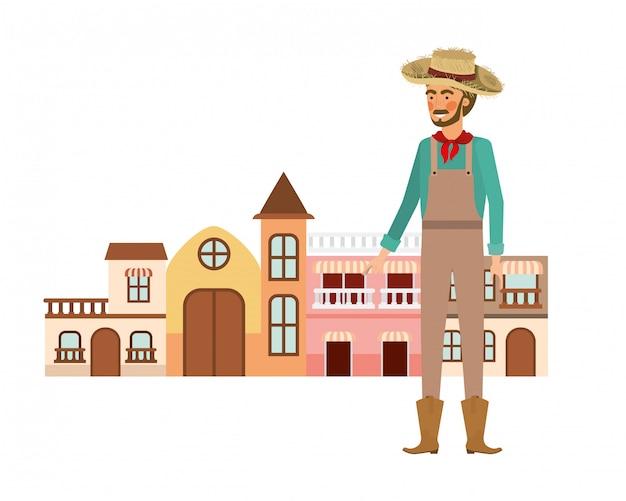 Mann bauer mit häusern der nachbarschaft