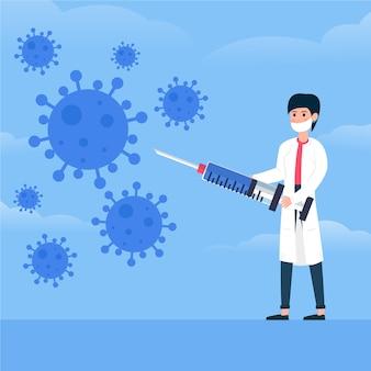 Mann bekämpft das viruskonzept mit spritze