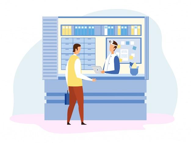 Mann-besucher, der mit doktor an der rezeption spricht